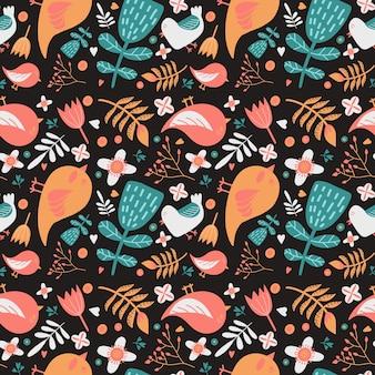 明るいワイドヴィンテージシームレス背景パターン。鳥と花。抽象、手描き