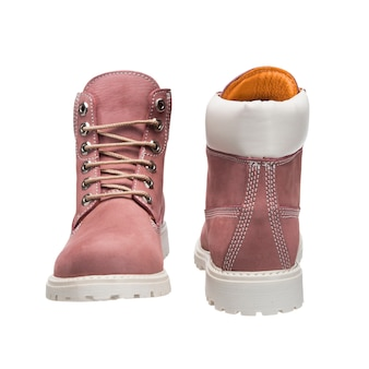 Bright women's leather shoes with laces for everyday wear, isolated clothing accessories on a white surface