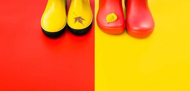 Bright women's rain boots on colourful backgrounds with flown leaves at the tips.