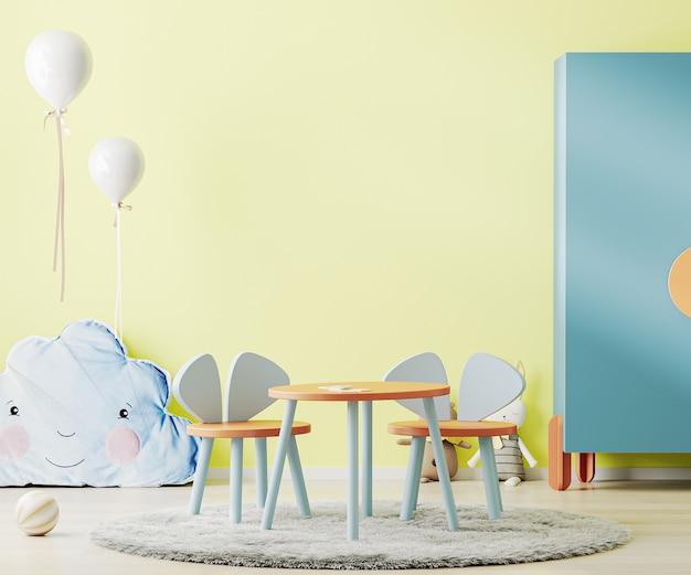 테이블, 장난감 및 찬장이있는 밝은 노란색 어린이 방, 어린이 방 인테리어