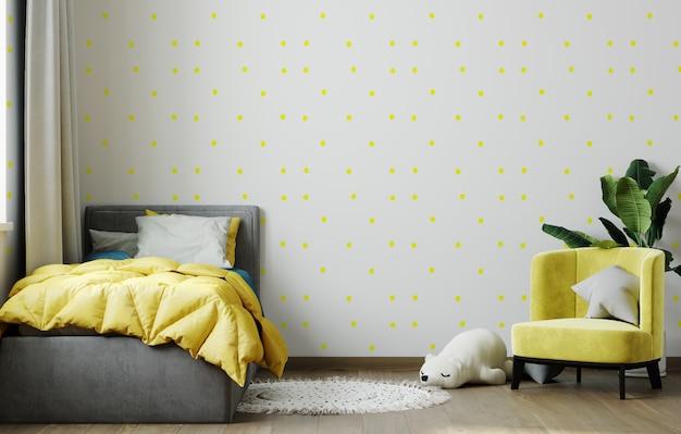 Bright yellow children room interior mockup. 3d rendering