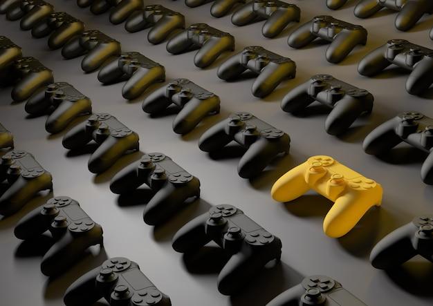 Bright yellow gamepad between multiple 3d joysticks