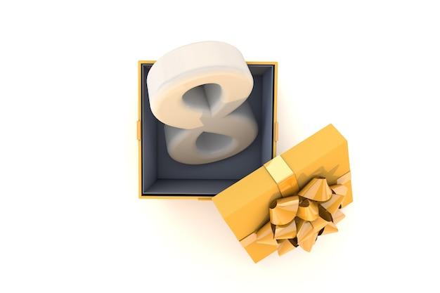 リボン付きの明るい黄色のギフトプレゼントボックス