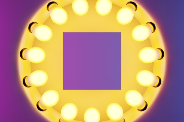 Bright yellow light bulbs in a row in the shape of a circle are lit on a pink and purple isolated background. the circle-shaped lamp shines brightly