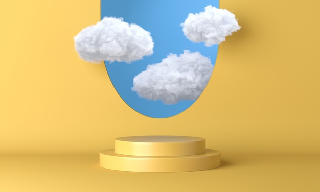 Bright yellow podium, stand, platform with flying white clouds and blue sky. 3d rendering