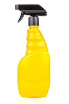Bright yellow spray bottle isolated on white background