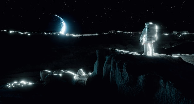 A brightly lit astronaut on the moon looks up at the distant earth on the horizon. image expressing the exploration of the moon, feelings of loneliness, separation and emptiness. 3d rendering.