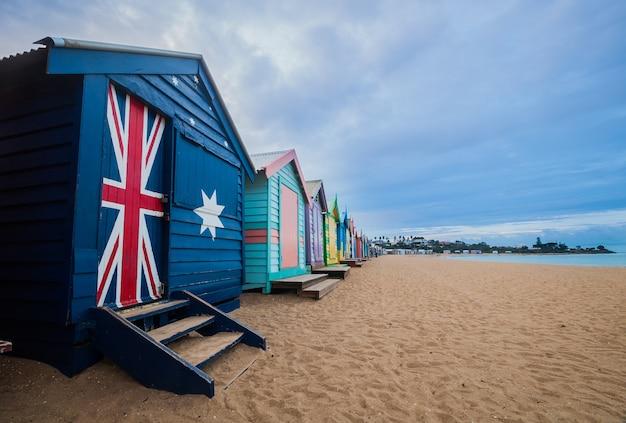 Brighton beach bathing boxes in melbourne, australia.