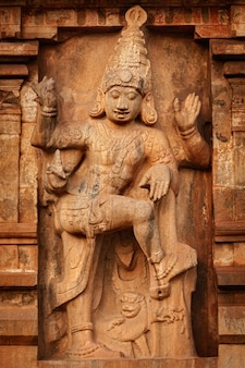 Brihadishwara temple entrance guard statue tanjore