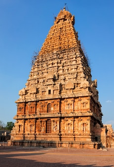 Brihadishwarar寺院の塔(vimana)。タンジャヴル、タミルナードゥ州、インド