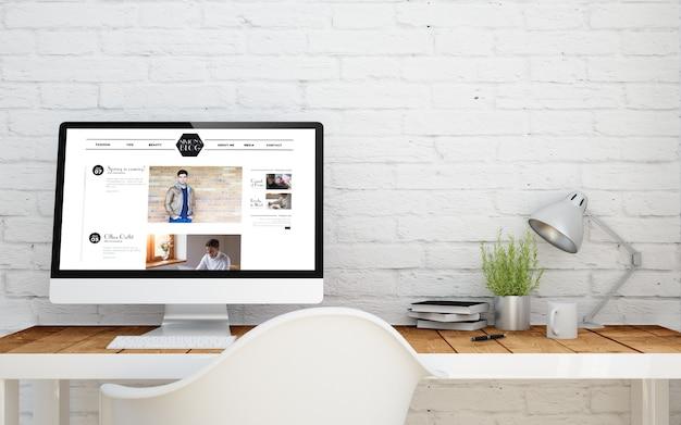 コンピューター画面にブログのあるbriksスタジオ