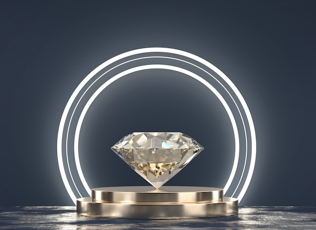 Brilliant diamond placed on gold stand  with light and black background, 3d rendering.