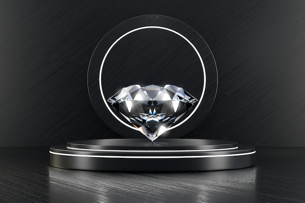 Блестящий бриллиант на роскошный стенд макет с черной стеной 3d-рендеринга.