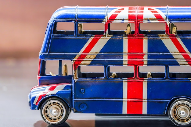 British flag screen on the toy bus.
