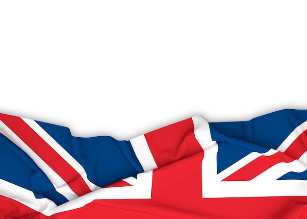 British flag on white background with clipping path.
