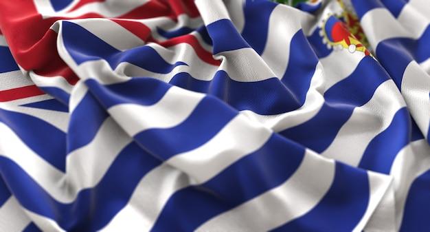 イギリス領インド洋テリトリー旗は、美しく波打ち際に浮かび上がっています。クローズアップショット