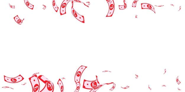 떨어지는 영국 파운드 지폐. 흰색 바탕에 임의의 gbp 청구서입니다. 영국 돈. 아름 다운 벡터 일러스트 레이 션. 멋진 잭팟, 부 또는 성공 개념입니다.