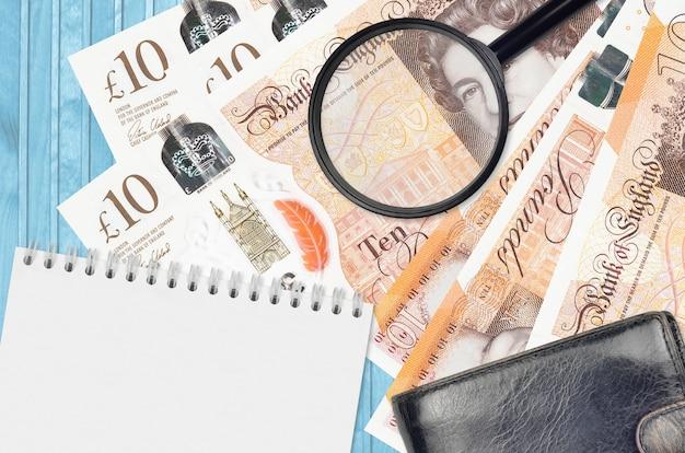 英国ポンド紙幣と黒い財布とメモ帳付きの虫眼鏡