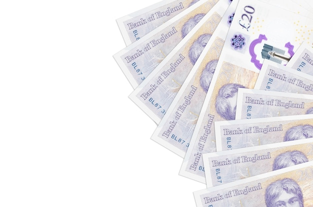 British pounds bills lies isolated on white
