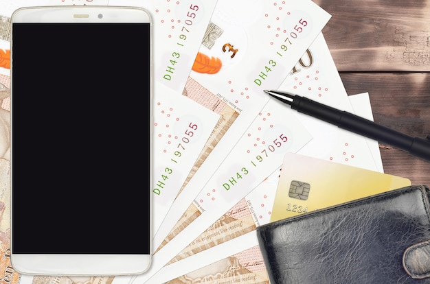 British pounds bills and smartphone with purse and credit card
