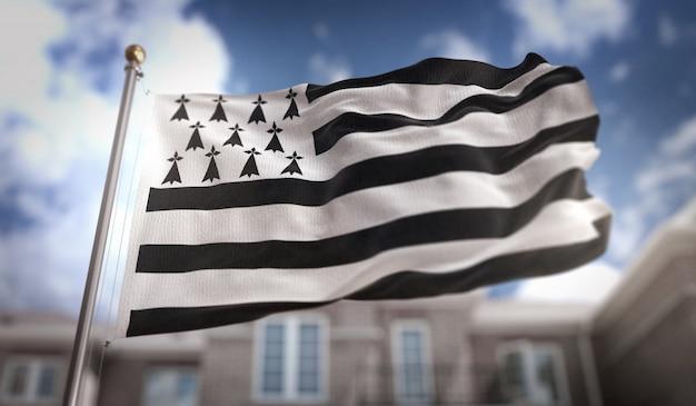 푸른 하늘 건물 배경에 브리트니 깃발 3d 렌더링