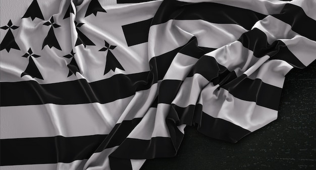 Brittany flag wrinkled on dark background 3d render