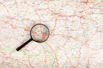 Brno city map seen through magnifying glass