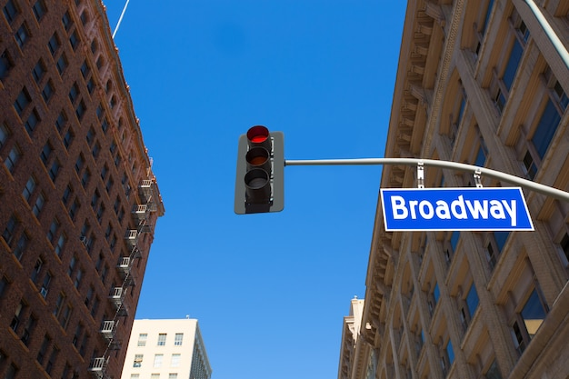 Broadway street los angeles road sign in redlight