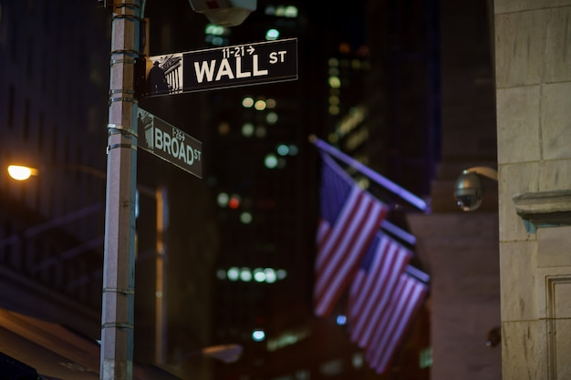 Broadway and wall street signs at the night with us flags on surface, manhattan, new york