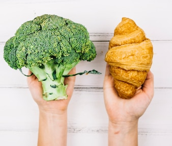 Broccoli and croissant