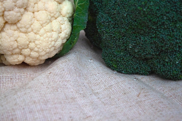 Broccoli and cauliflower are on the table. the concept of proper nutrition.