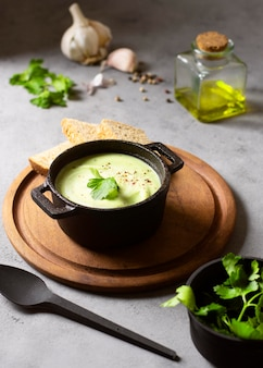 Broccoli creme soup winter food and ingredients