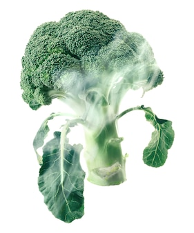 Broccoli head envelops smoke steam isolated white.