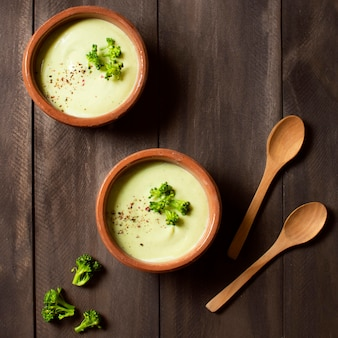 Broccoli soup winter food flat lay