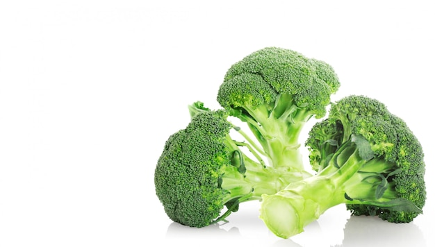 Broccoli on a white surface background