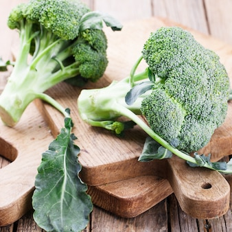 Broccoli on wooden boards