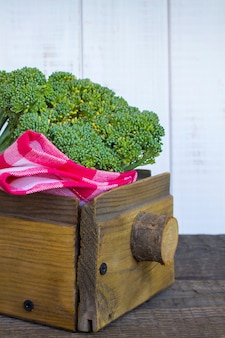 Broccoli in a wooden box