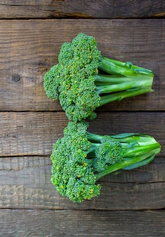 Broccoli on a wooden table