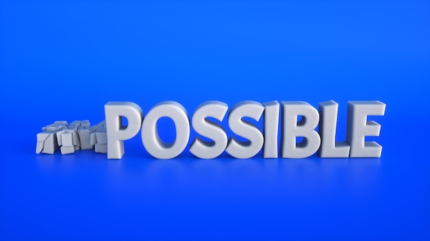 Broken 3d text making the impossible possible on a blue background