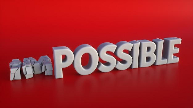 Broken 3d text making the impossible possible on a red background