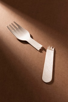 Broken bio cardboard forks high view