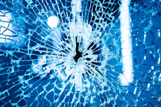 Broken blue glass window