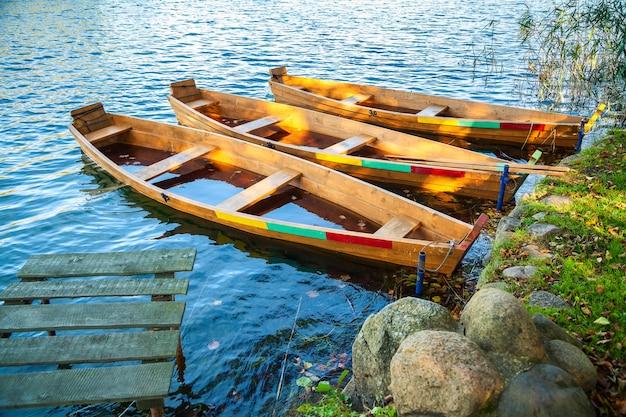 Broken boats at the lake