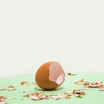 Broken brown egg on table