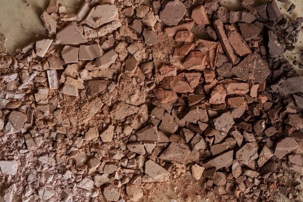 Broken brown eyeshadow powder background