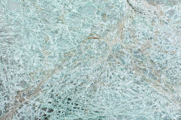 Broken car glass after an accident