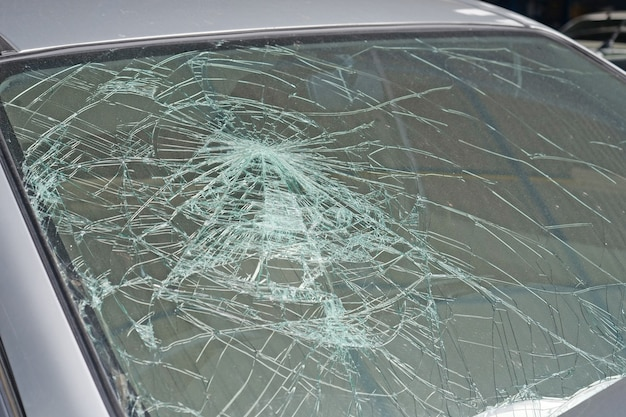 Broken car windshield. accident of car