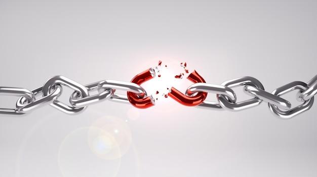 빨간색 약한 링크가있는 끊어진 사슬