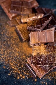 Broken chocolate stacked