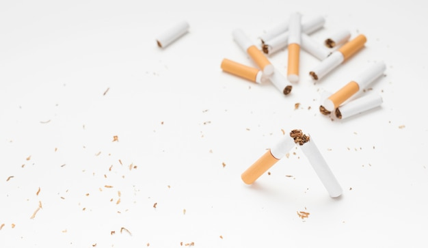 Broken cigarette and tobacco above white surface